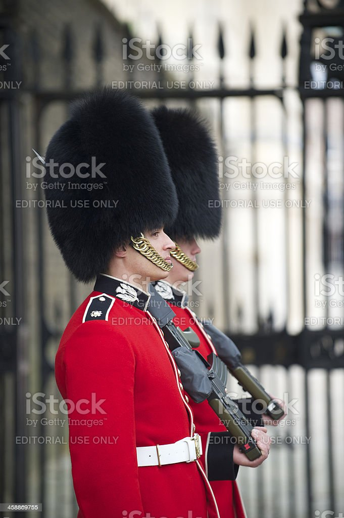 Two British Royal Foot Guards Red Jacket Busby London royalty-free stock photo