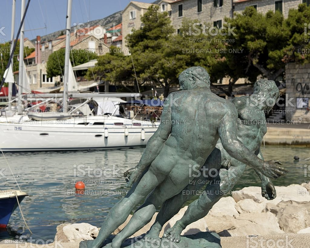 Two bronze statues stock photo