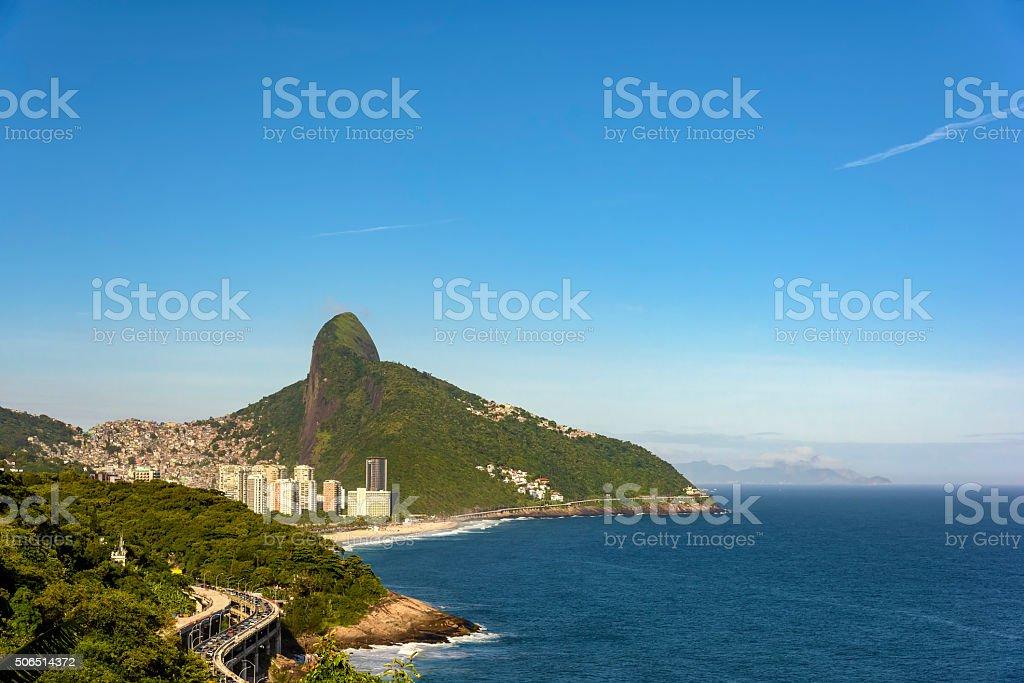 Two Brothers hill and Sao Conrado beach stock photo