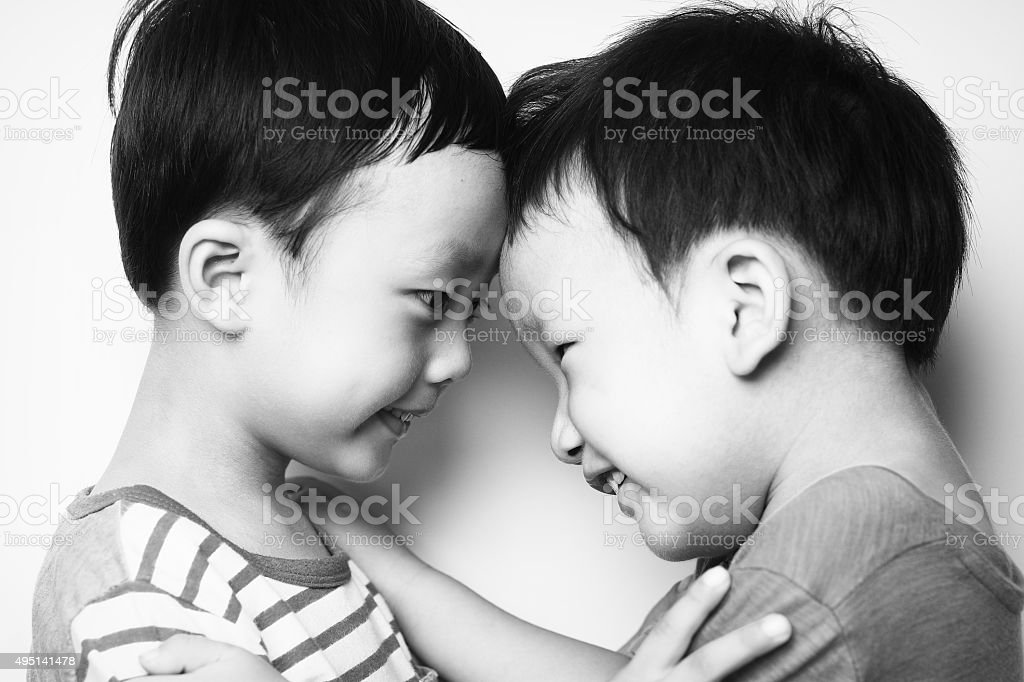 Two brothers stock photo