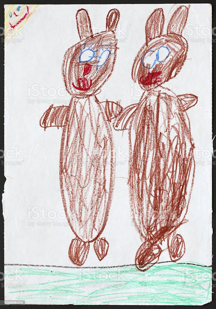 Two Brown Bears. Child's Drawing. stock photo