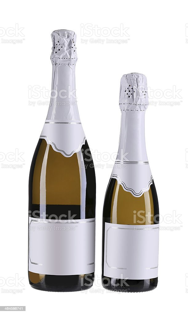 Two brown bottles of champagne. stock photo
