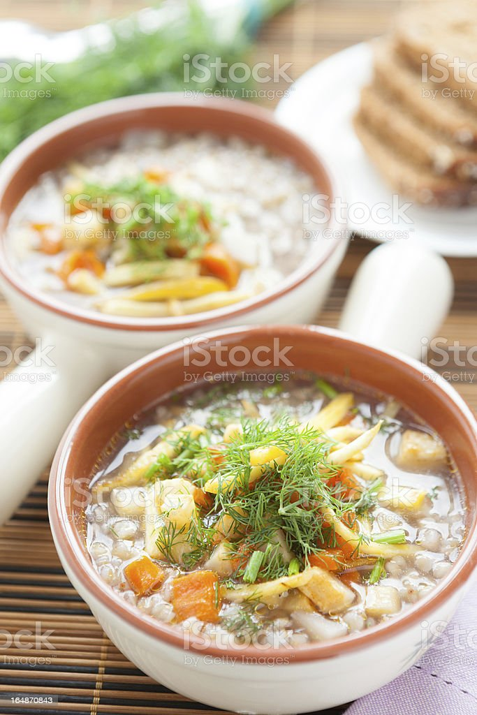 two buckwheat soup with celery in a tureen royalty-free stock photo