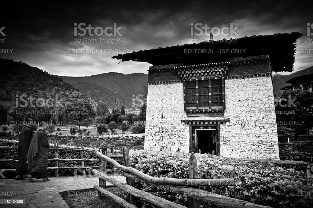 Two Buddhist monks of The Punakha Fortress Monastery, Paro, Bhutan stock photo
