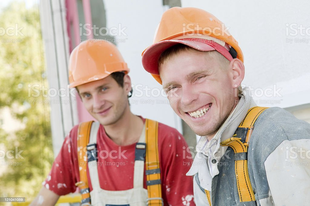 two builder facade painters royalty-free stock photo