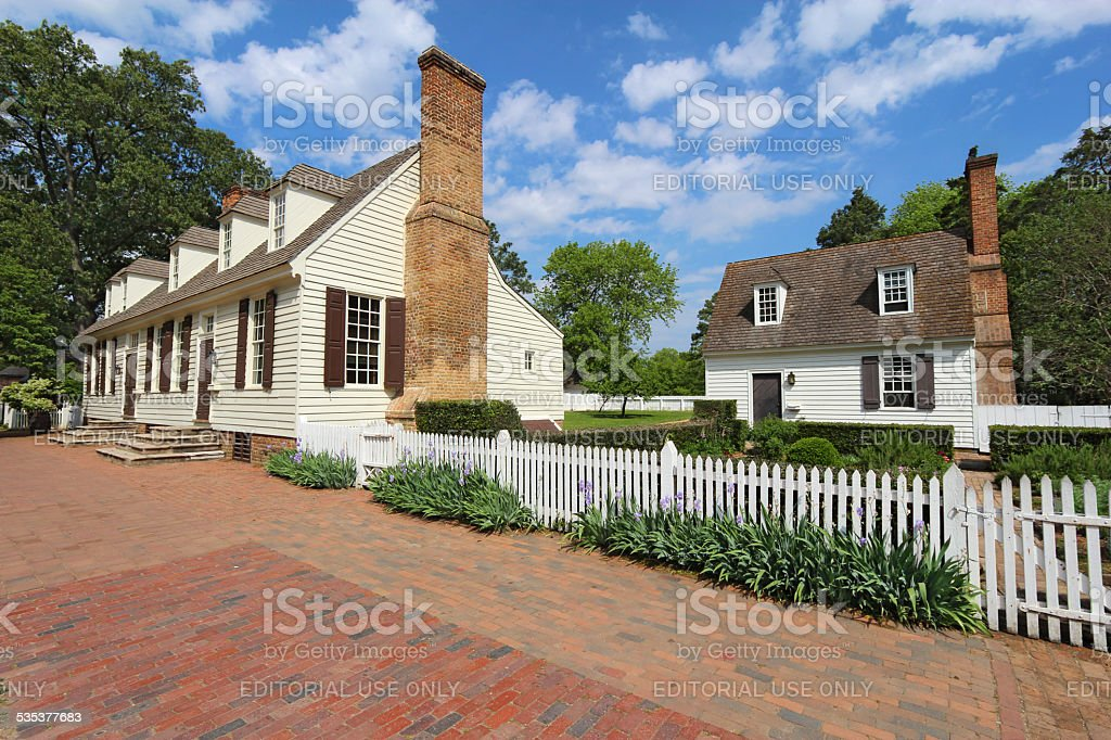 Two buildings on Duke of Gloucester Street in Colonial Williamsb stock photo