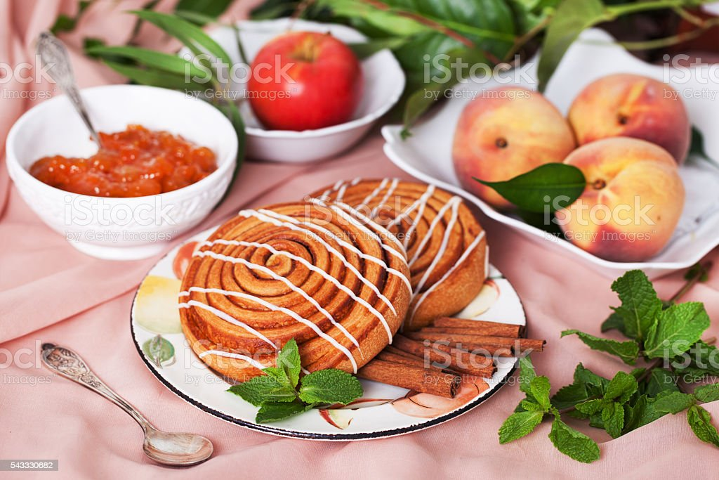 Two buns with cinnamon still life stock photo