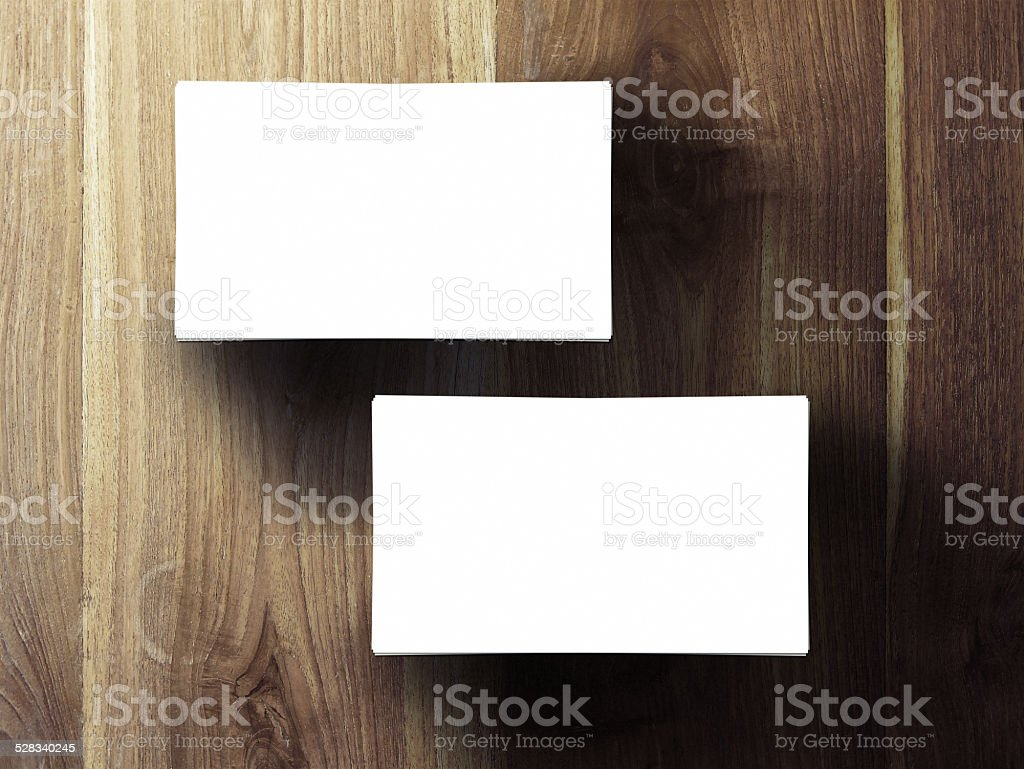 two business cards stack stock photo