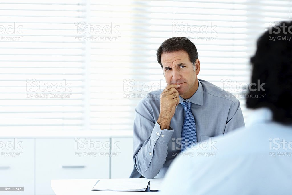 Two business colleagues during a meeting stock photo
