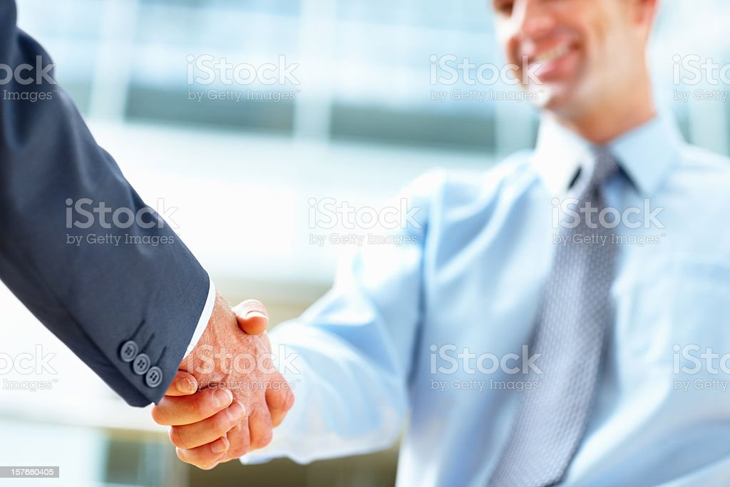 Two business executives shaking hands royalty-free stock photo
