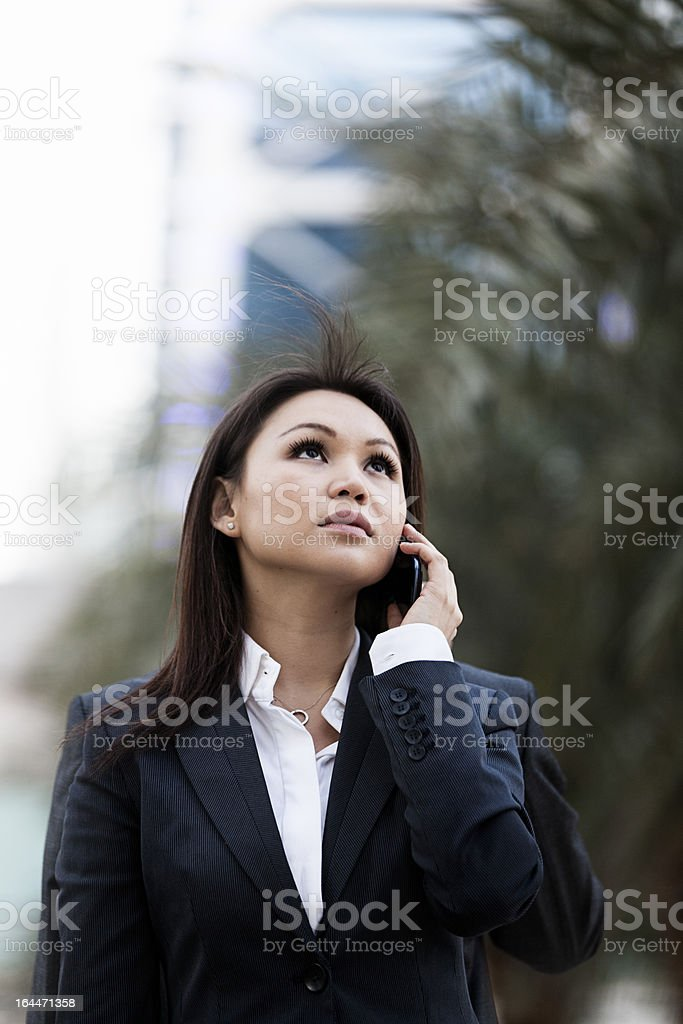 Two business people in discussion on the phone stock photo
