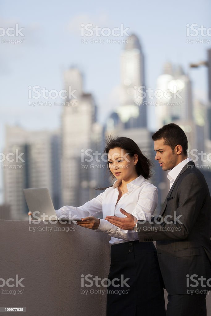 Two business people in discussion stock photo