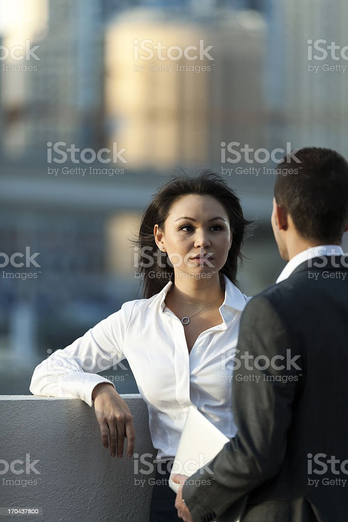 Two business people in discussion royalty-free stock photo