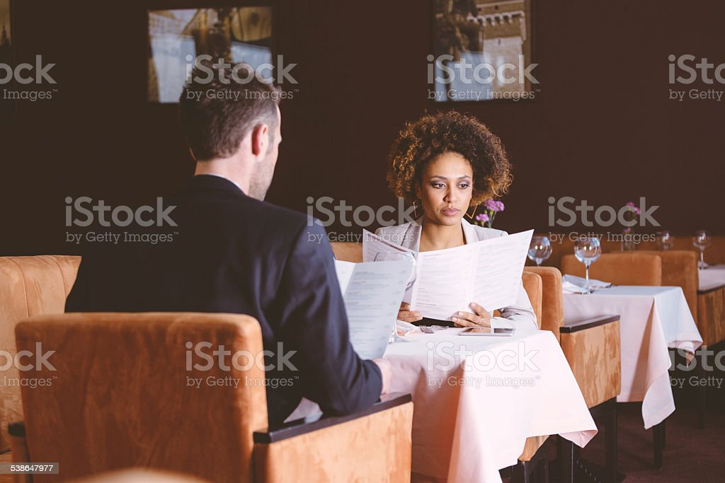 Two business people on lunch stock photo