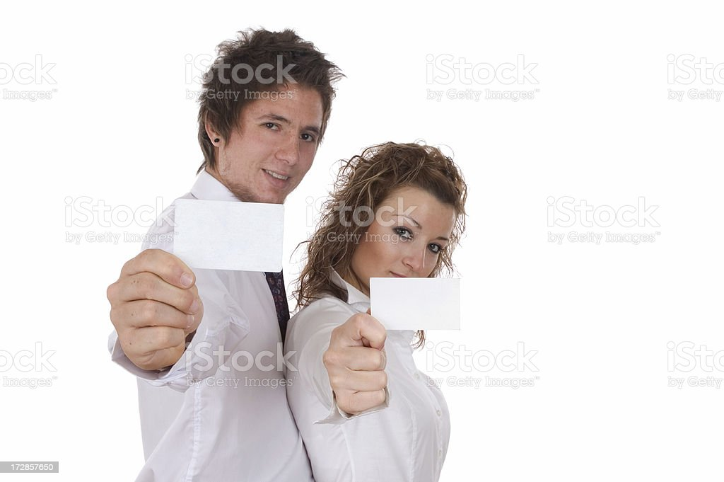 two business person and blank card royalty-free stock photo