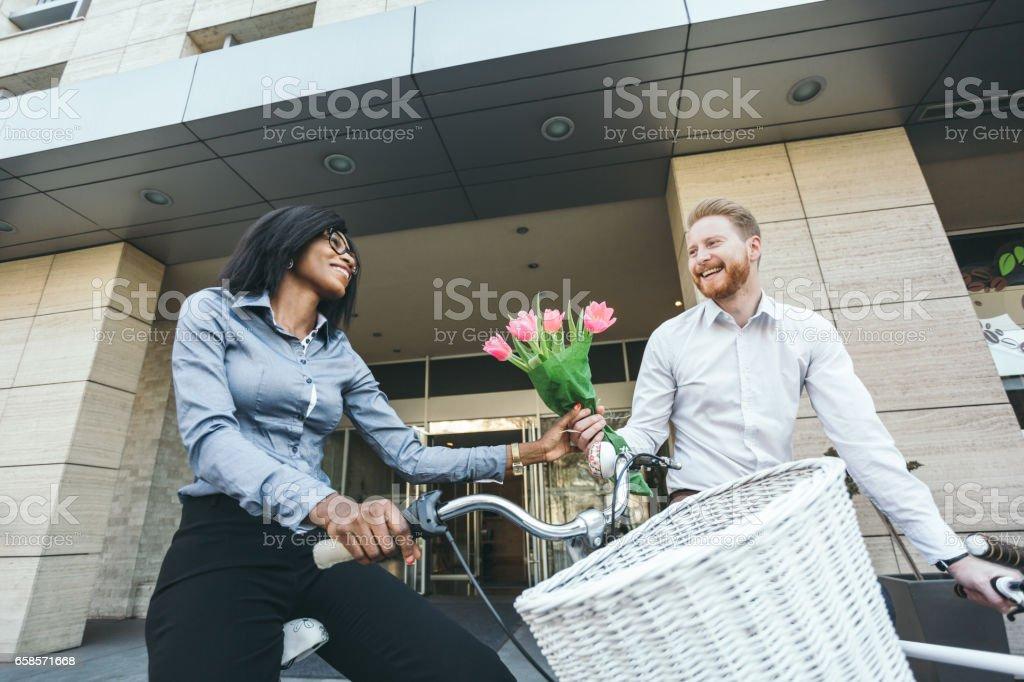 Two businessman on the brake stock photo