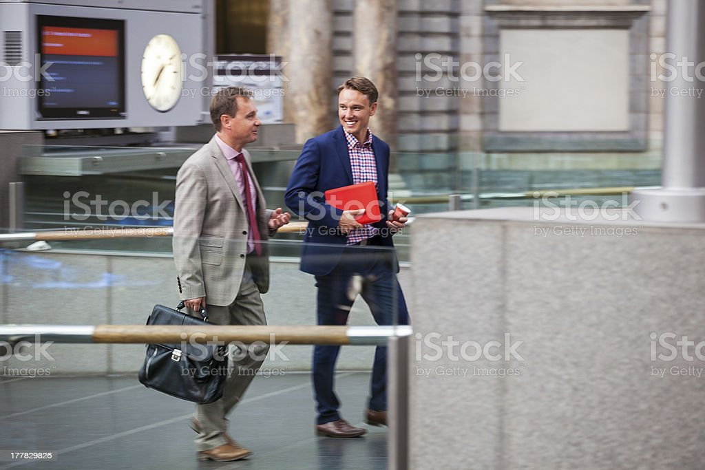 Two Businessmen at Railway Station stock photo