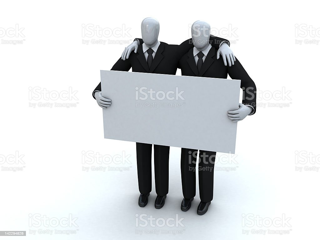two businessmen hold an advertising board royalty-free stock vector art