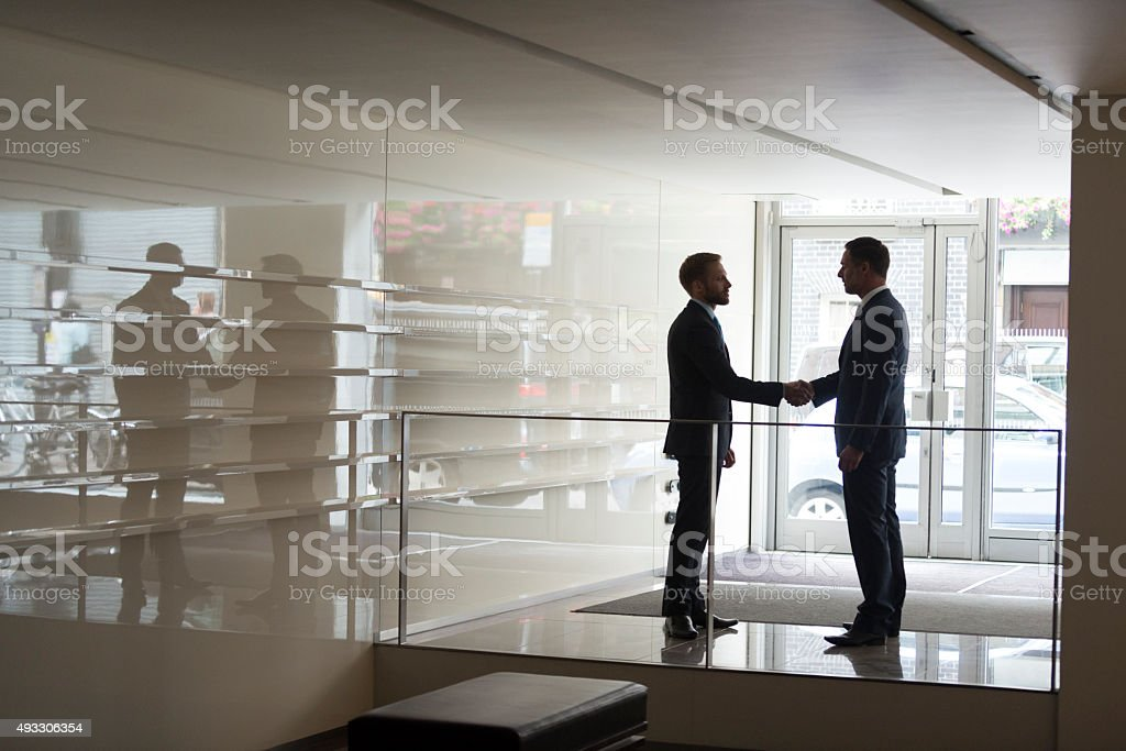 Two businessmen shaking hands in modern office, silhouette stock photo