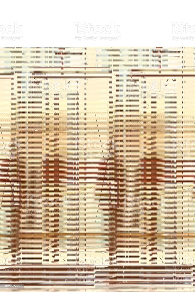Two Businessmen Walking in Office Corridor, Blurred Motion stock photo