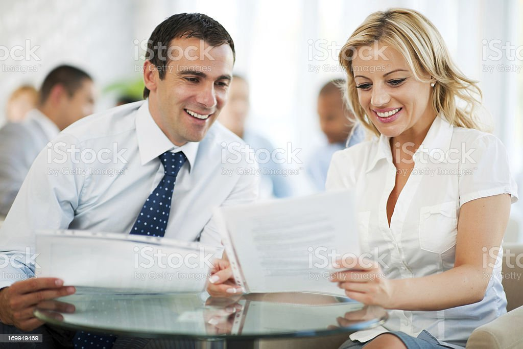 Two businesspeople working together. royalty-free stock photo
