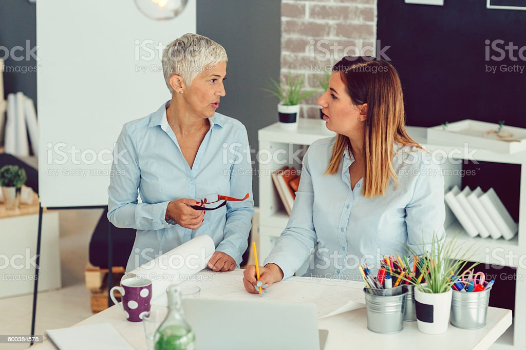 Two Businesswoman Brainstorming stock photo