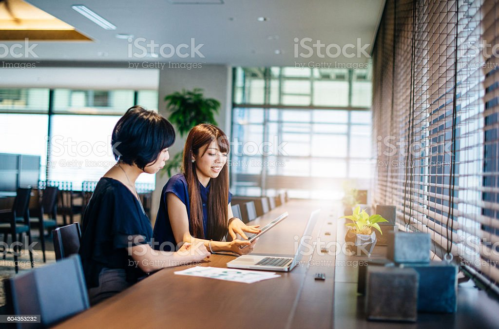 Two businesswomen on meeting using online data stock photo