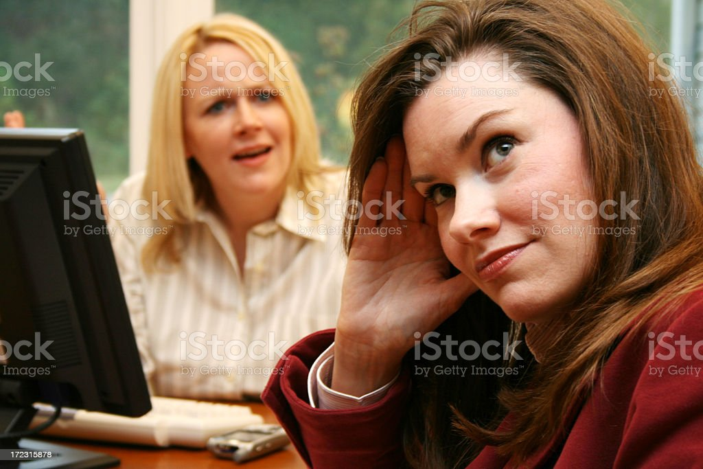 Two businesswomen with facial expressions  stock photo