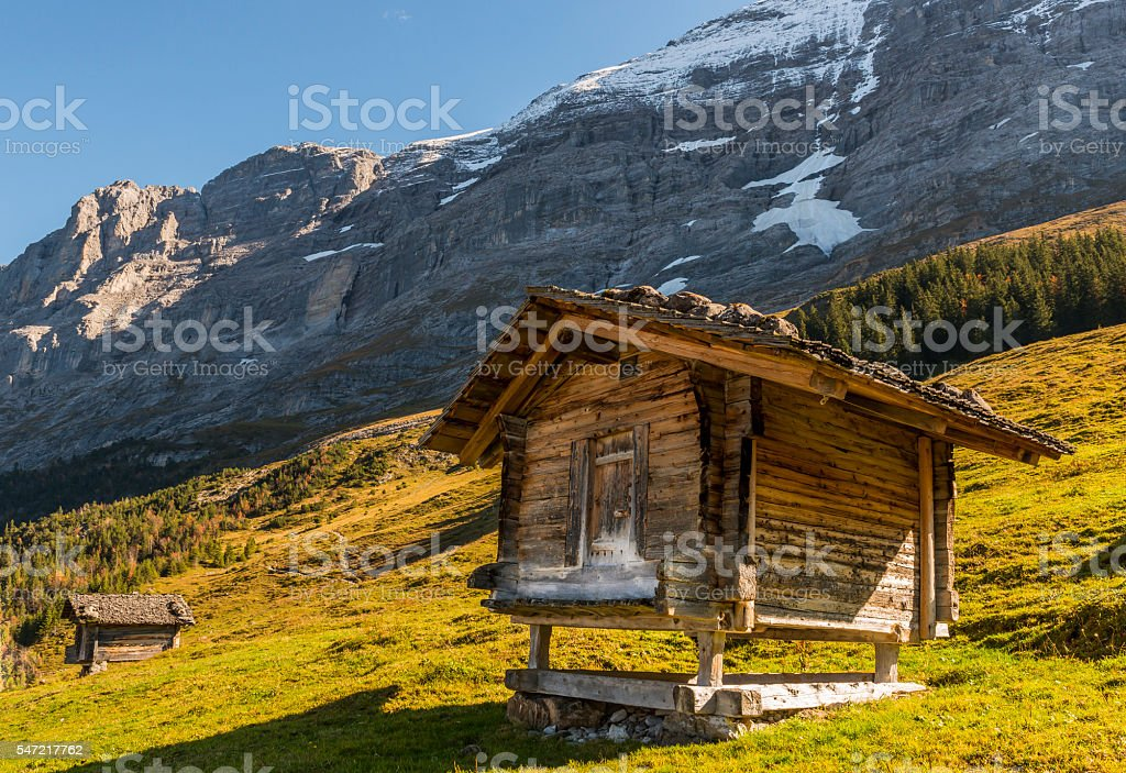 Two Cabins in Switzerland Alps with Eiger stock photo