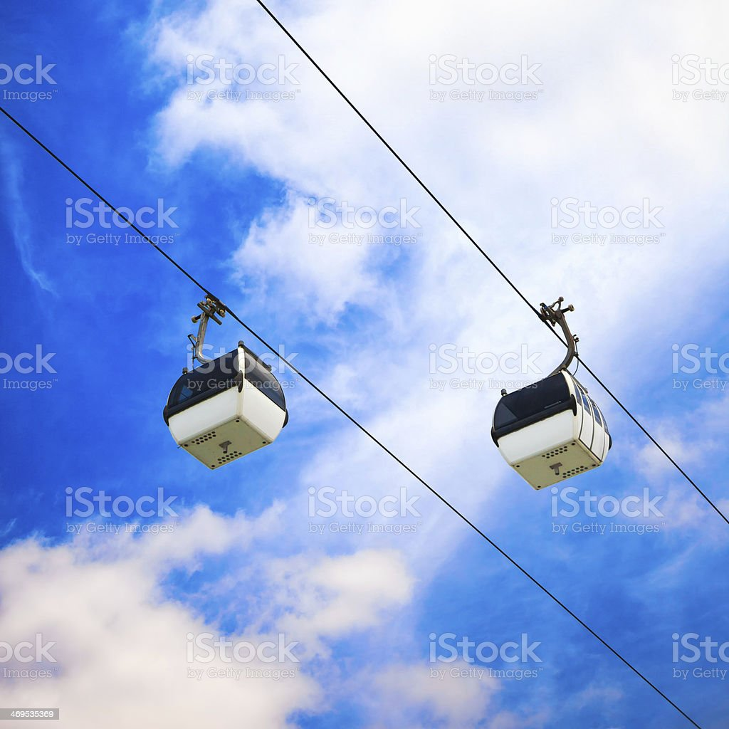 Two cable car on a partly cloudy sky background royalty-free stock photo