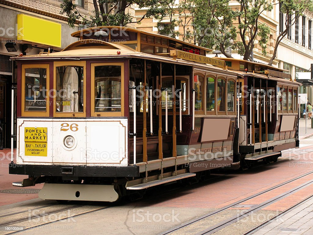 Two Cable Cars on Powell Street royalty-free stock photo