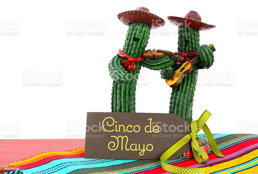 Two cacti dressed as a Mariachi band for Cinco de Mayo stock photo