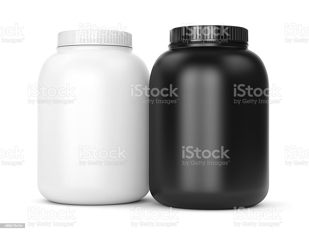 Two can of bodybuilding supplements stock photo