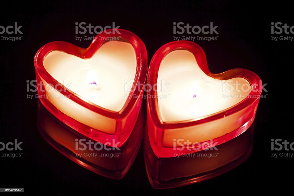 two candle hearts royalty-free stock photo