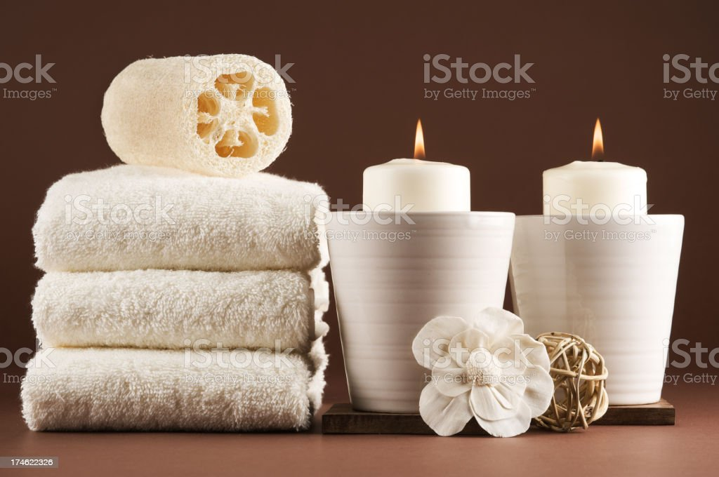 two candle spa royalty-free stock photo