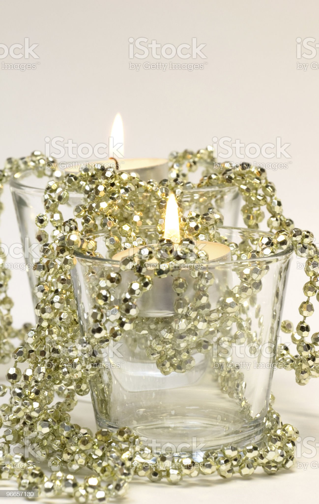 Two Candles in Glass royalty-free stock photo