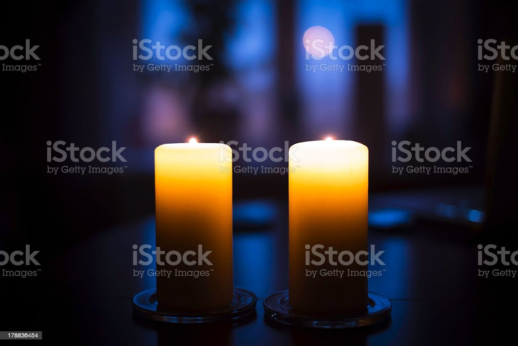 Two candles on table royalty-free stock photo