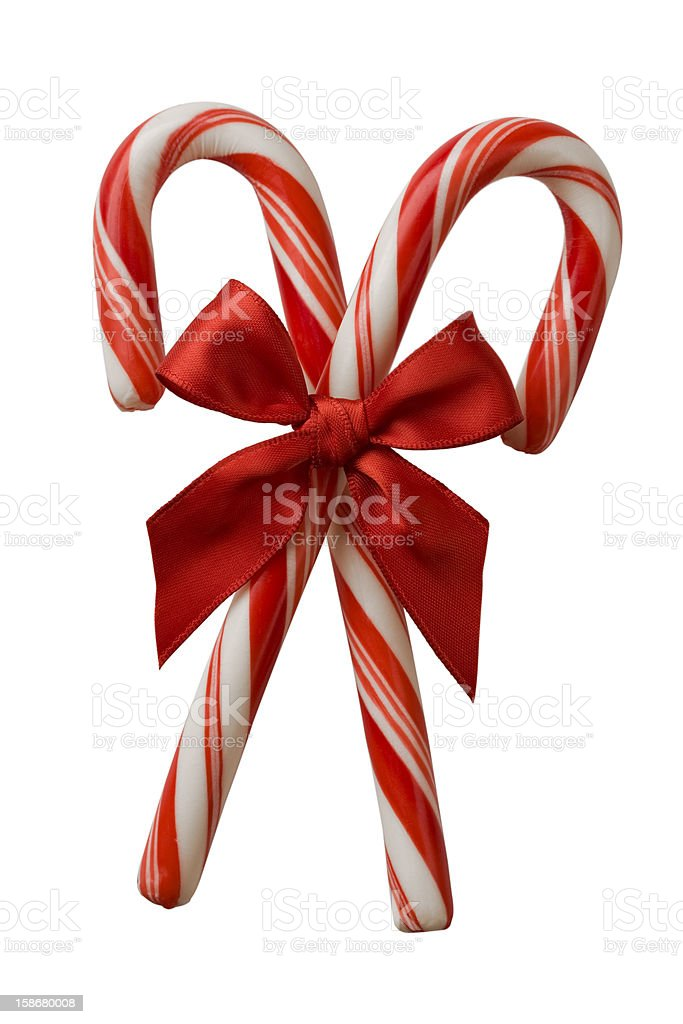 two candy cane with red bow stock photo