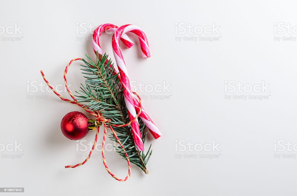 two candy cones with fir-tree branch stock photo