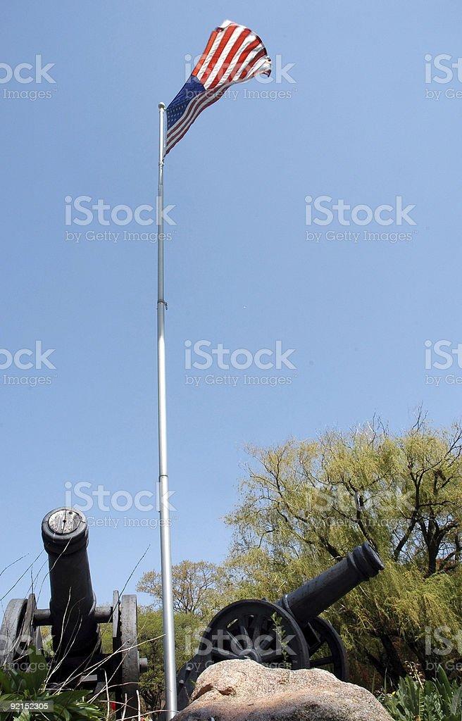Два знаменуя и флаг Стоковые фото Стоковая фотография