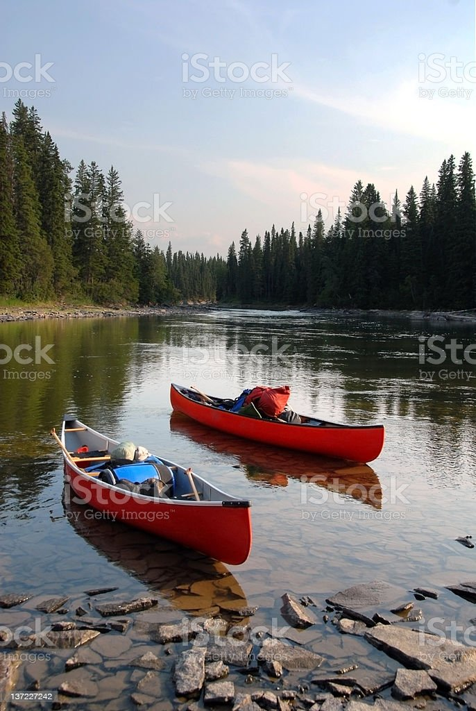 Two Canoes stock photo