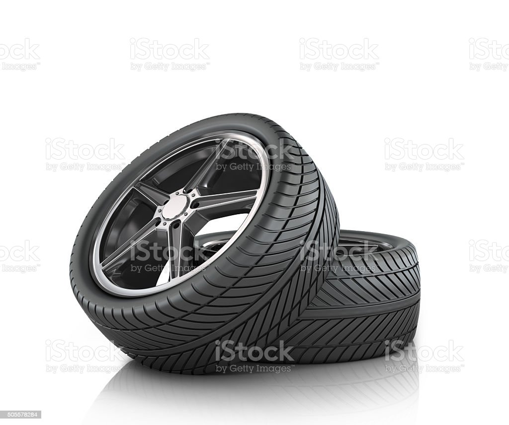 Two car wheels on a white background. stock photo