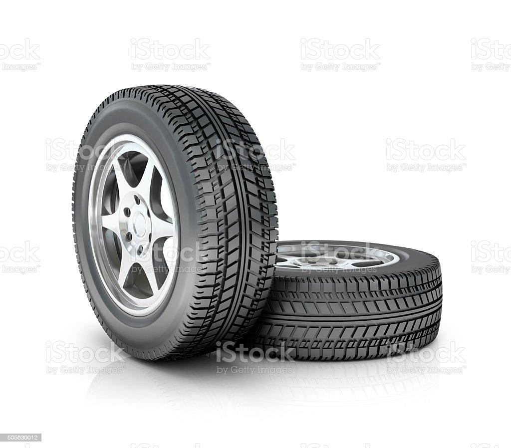 two car wheels stock photo