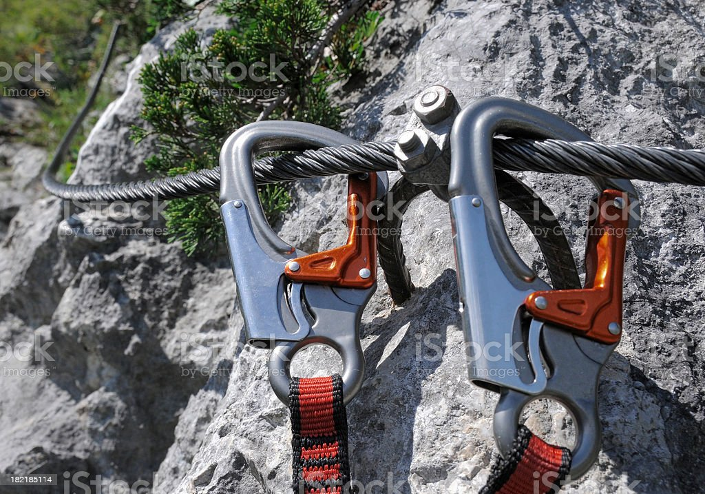 Two Carabiner on Steel rope, Via ferrata, Shallow DOF, Austria stock photo