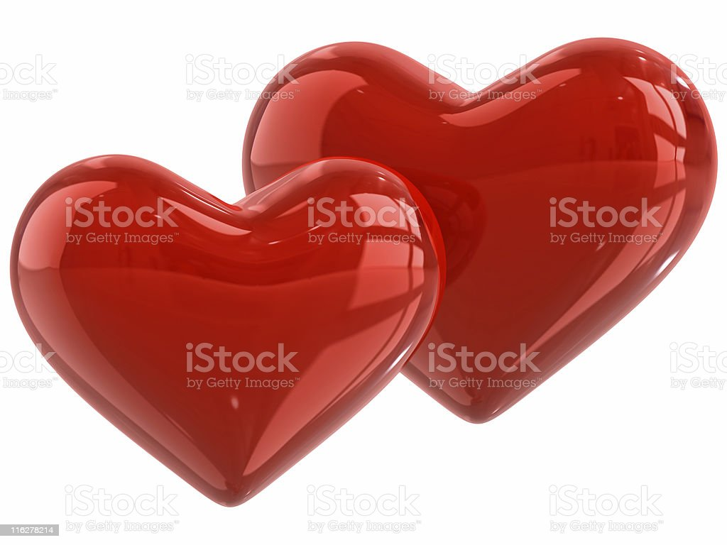 Two caramel hearts royalty-free stock photo