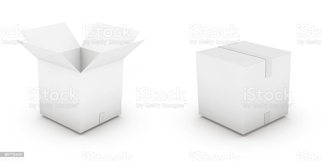 Two cardboard boxes one closed one open royalty-free stock photo