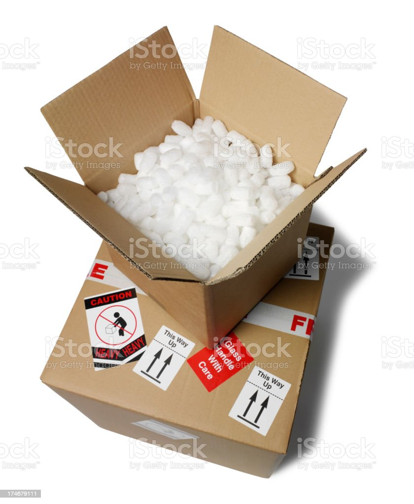 Two Cardboard boxes one Open royalty-free stock photo