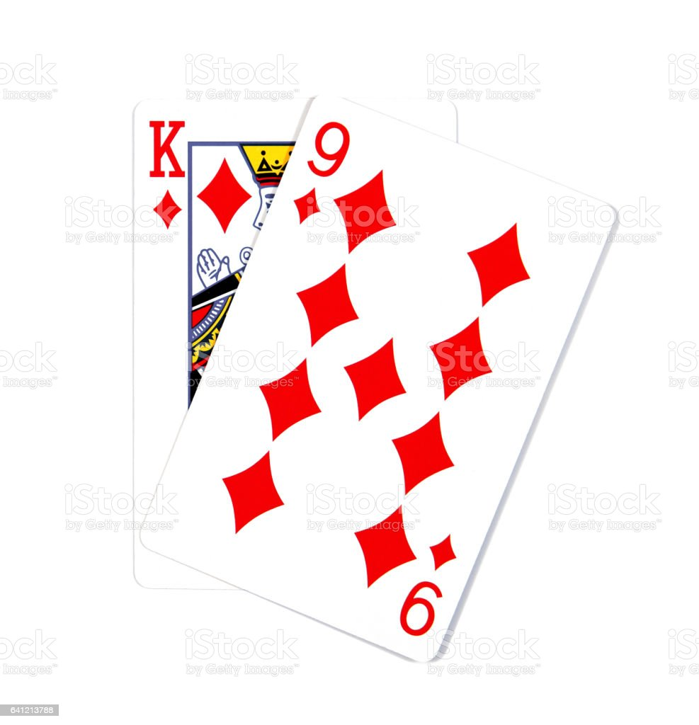Two cards isolated on white.K and 9 playing cards stock photo