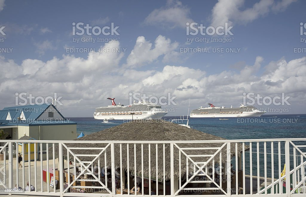 Two Carnival Cruise Ships docked at George Town, Grand Cayman royalty-free stock photo