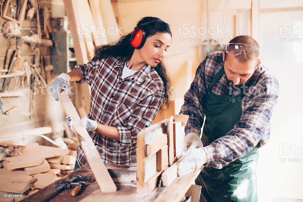 Two carpenters stock photo